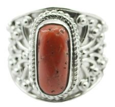 Coral 925 Sterling Silver Ring resplendent Red jaipur AU gift