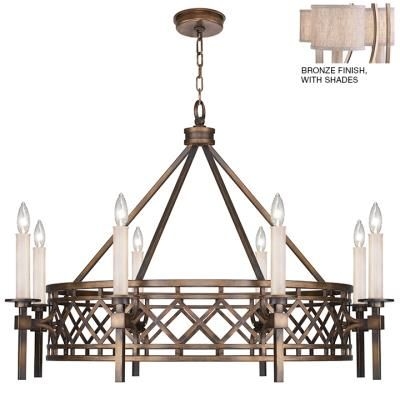 Fine Art Lamps - 889440-11ST - Eight #Light #Chandelier - Executed by skilled metal artisans, this chandelier is inspired by the 1920`s unique transitional period in architecture & design in Cienfuegos. Choice of antique bronze, soft #gold or weathered greige patina. Includes textured #natural greige fabric shades. #Antique #Bronze
