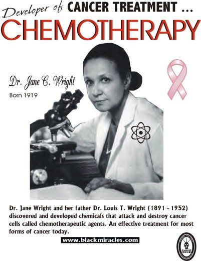"Dr.Jane Cooke Wright, African American Cancer Research Living Legend and Pioneer. See more details about her life and work at: ""Changing the Face of Medicine"": http://www.nlm.nih.gov/changingthefaceofmedicine/physicians/biography_336.html"