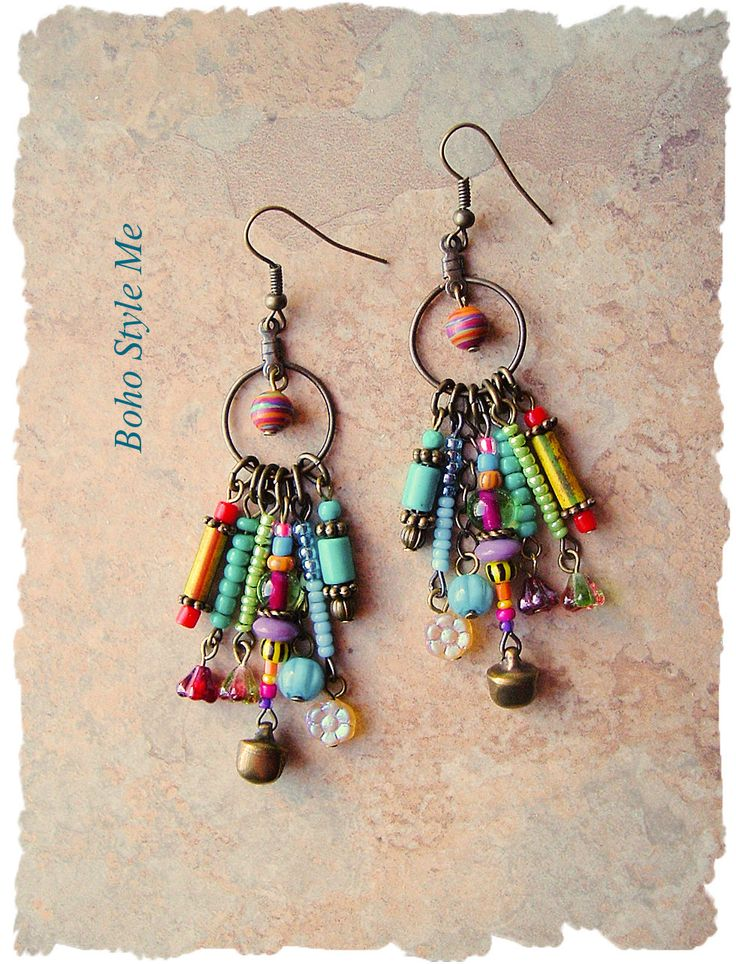 Boho Colorful Fun Earrings, Bohemian Dangle Earrings, Modern Hippie Earrings, Boho Fashion, Boho Style Me, Kaye Kraus by BohoStyleMe on Etsy