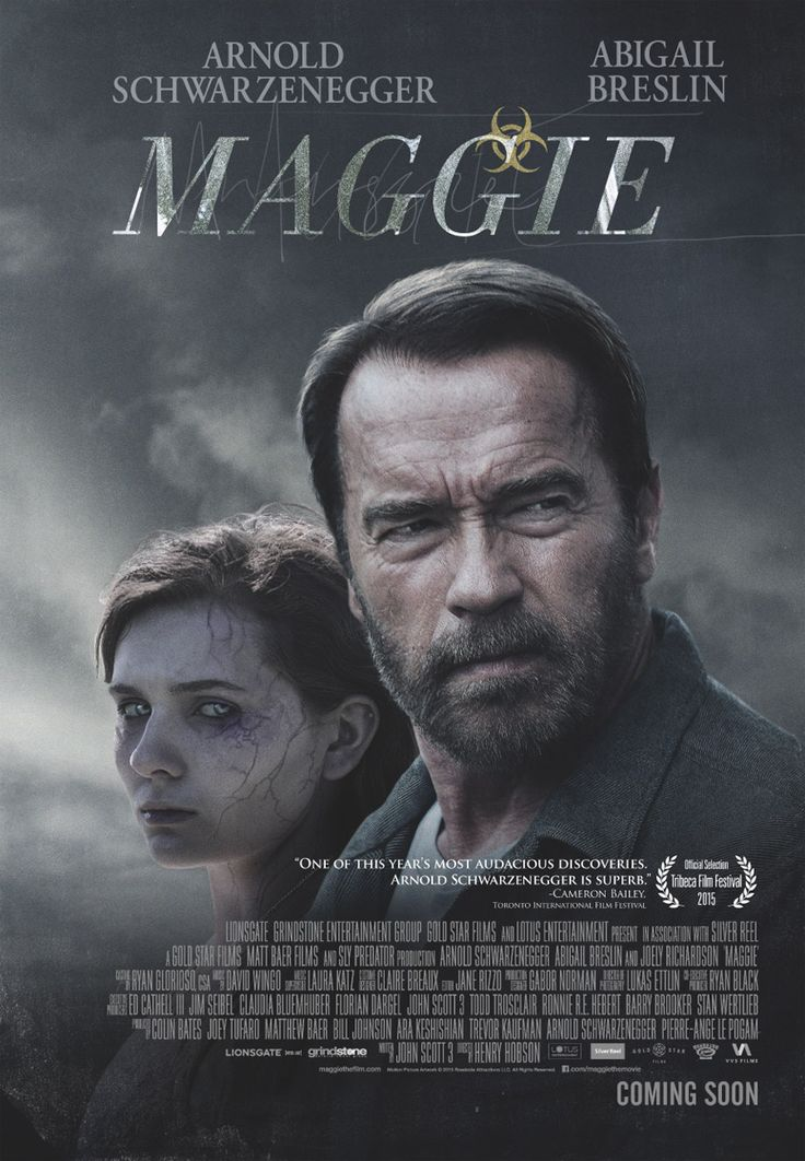 Maggie - Not your usual Schwarzenegger movie. Not the usual zombie flick either. Much more drama than horror and it tells a tragic but hauntingly beautiful story. Surprisingly well acted too.