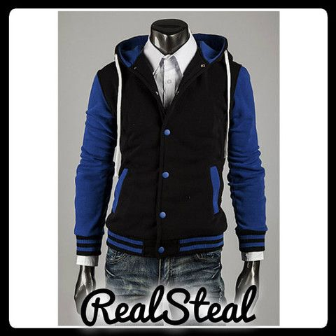 Mens Slimfit Baseball Hoodies Blue – Real Steal Free Shipping JUST $47.68