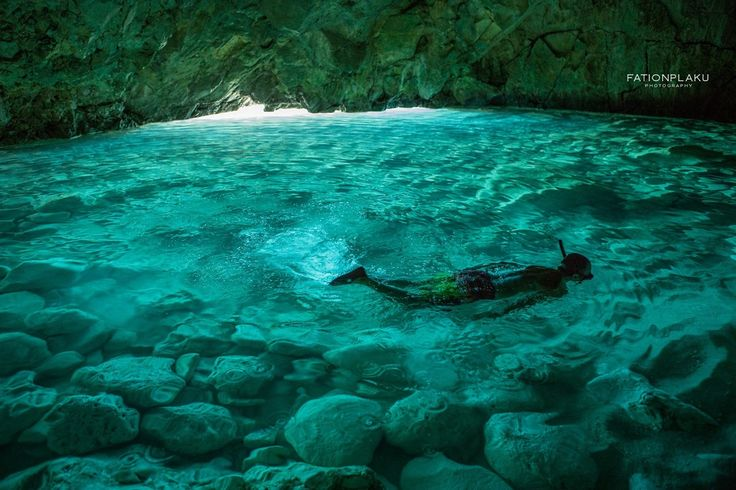 albania-tourism:  A secret paradise cave under the water. Karaburun, Albania