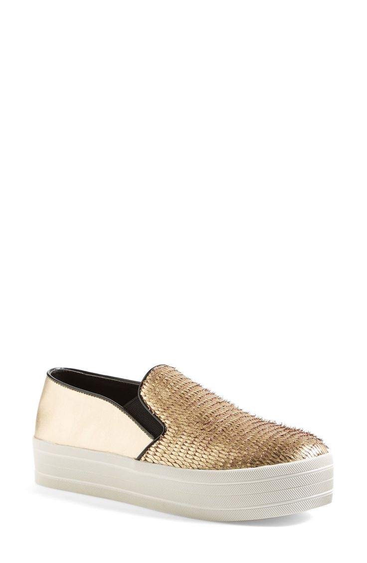 Genius mix of textures on these gold Steve Madden 'Buhda' slip-on sneakers