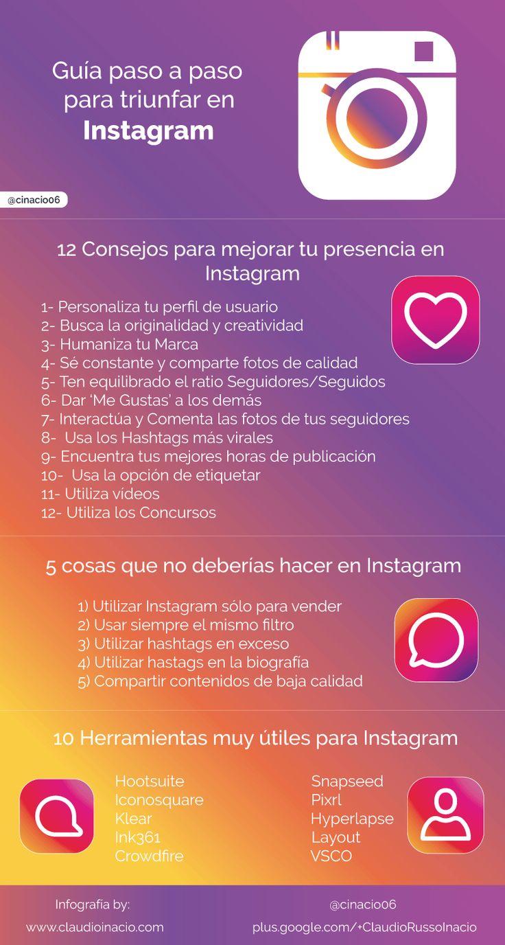Una infografía con unaguía paso a paso para triunfar en Instagram.