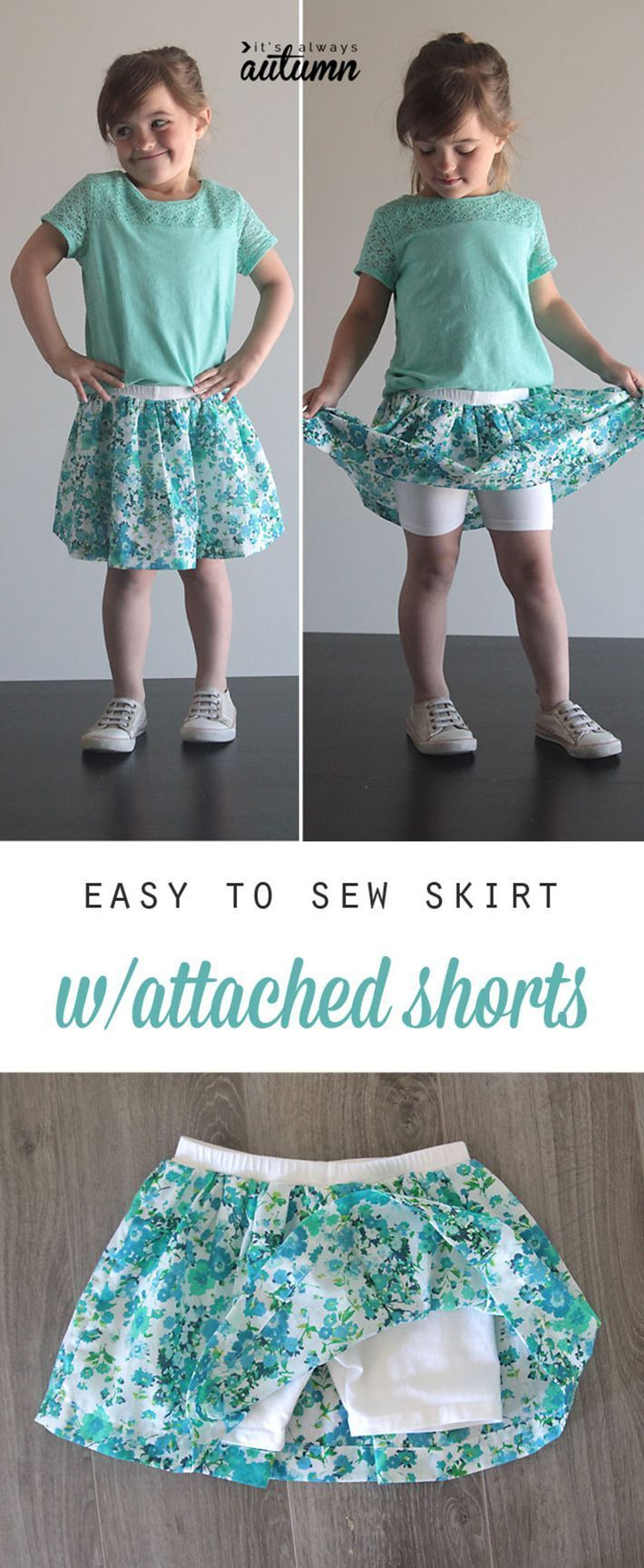 If you're not that good at sewing, this easy-to-sew 'skorts' will be perfect for you! Sewing fabric around an existing pair of shorts or tights certainly don't take a lot of skill.
