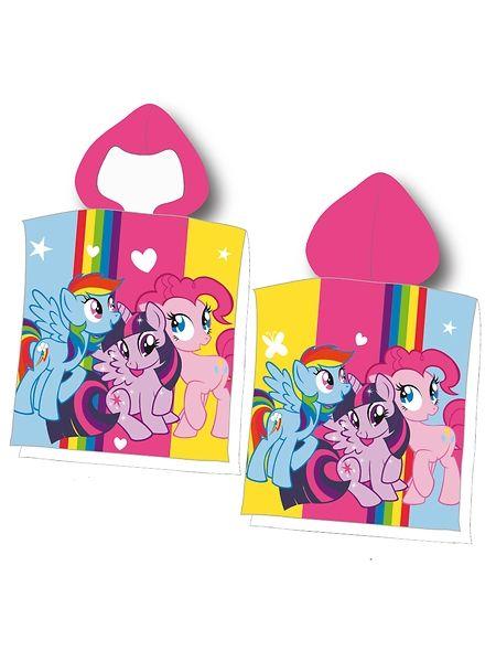 Suloista My Little Pony -huppupyyhettä koristaa pirteä ponikolmikko. Koko 60 x 120 cm. 100 % froteeta. Konepesu 60 asteessa.