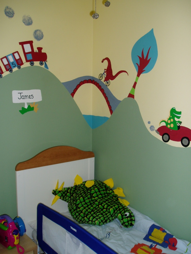 Part of a large transport themed mural for a 3 year old for Boy bedroom ideas 5 year old