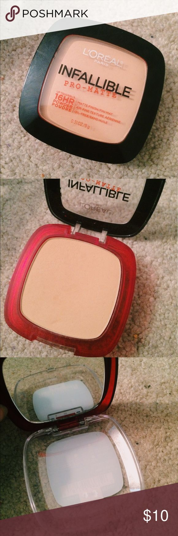 L'Oreal Paris Infallible Pro-Matte Powder L'Oreal Paris || Infallible Pro-Matte Powder || 16 hour wear || Matte Finish || Oil-Free || Tan skin tone || Comes with mirror || Never been used || Any reasonable offers will be accepted. L'Oreal Makeup Face Powder