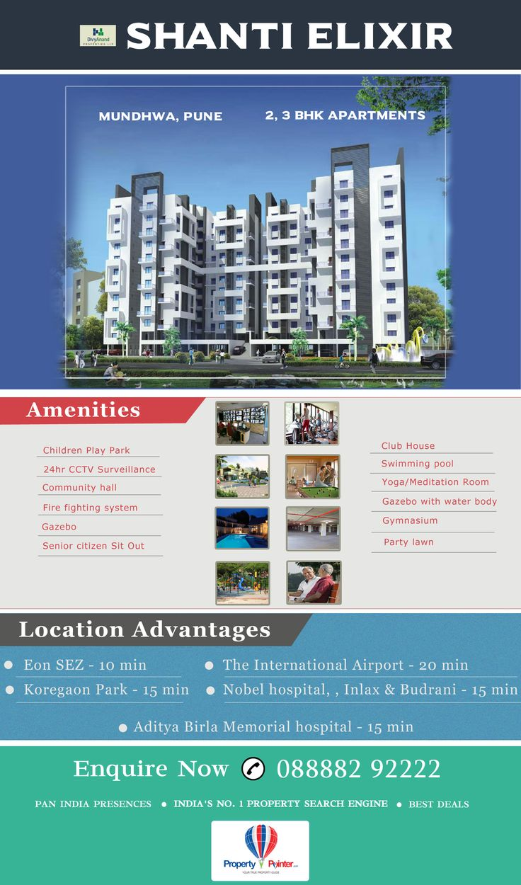 #ShantiElixir #Mundhwa #Pune is embellished with a huge array of highly sophisticated amenities, such as, the swimming pool, club house, community hall, gazebo, gymnasium, indoor games, jogging track, and party lawn etc. Shanti Elixir Mundhwa Pune can be a perfect place to own a home in affordable budget. For more detail visit at – https://goo.gl/5pyYku