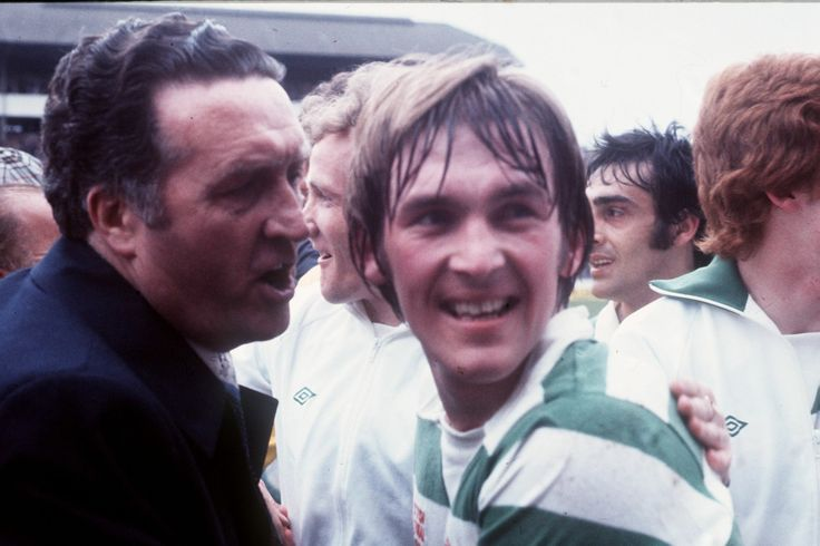 Jock Stein congratulates Kenny Dalglish after 1-0 win over Rangers in 1977
