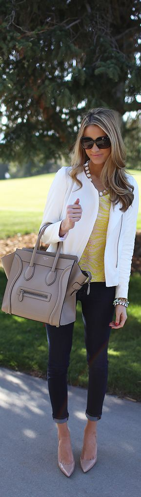 dark skinny jeans, mustard blouse, structured white jacket, large taupe tote, taupe heels