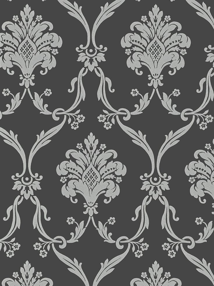 Silver on dark gray victorian damask wallpaper dining for Silver accent wallpaper