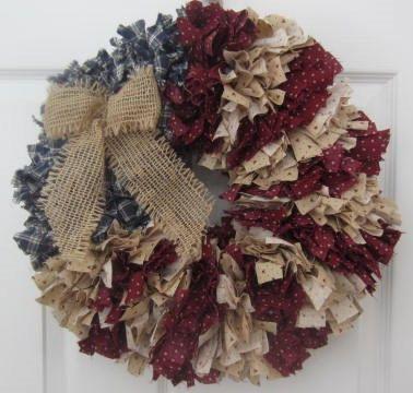 Flag Rag Wreath Americana 16 Patriotic U.S.  by RaggedyApple,