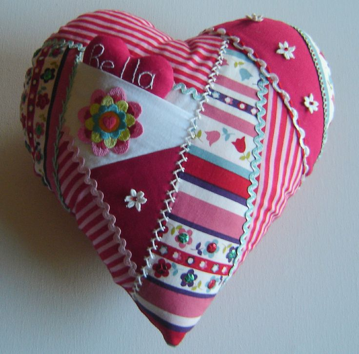 I ❤ crazy quilting & embroidery . . . Valentines Message Cushion Tutorial- Today we are going to make a gorgeous heart cushion for Valentines Day (or in my case, a heart cushion for my grand daughter's bed).  It will give you the chance to use some scraps and try your embroidery! ~By Nannynotes2u