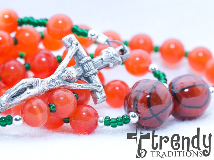 Miami Hurricanes Basketball Rosary by trendytraditionsbiz on Etsy, $41.00