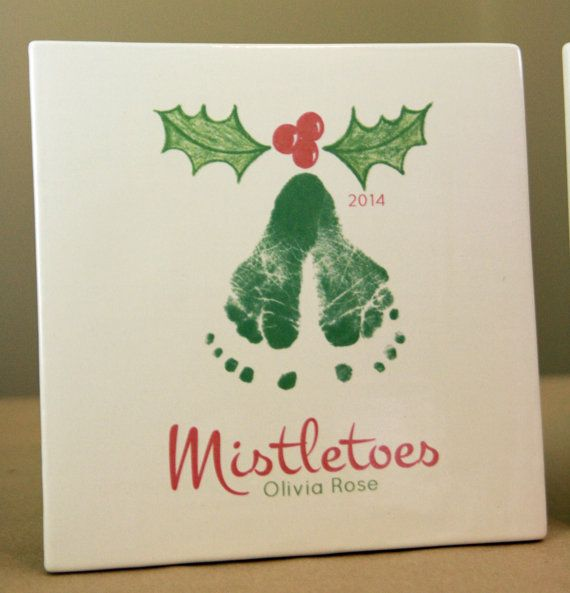 Your child's actual footprints! footprint art, baby's first christmas keepsakes, grandpa christmas gift, Mistletoes Footprint Plaque 304_Plq – Vicki Hammock-Taflan