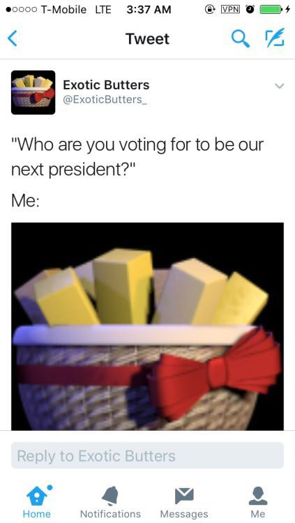 EXOTIC BUTTERS FOR PRESIDENT
