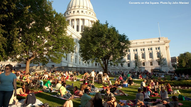 Since 1983 the Capitol Square comes alive with music for six consectutive Wednesdays during the summer months at Concerts on the Square.