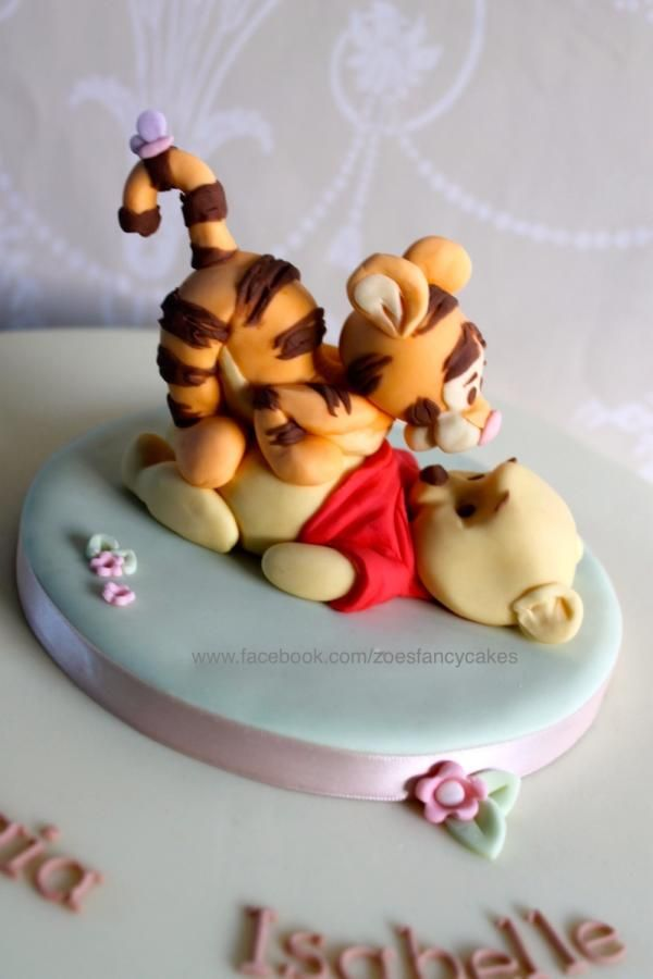 Pooh and  Tigger Christening cake - Cake by Zoe's Fancy Cakes more at https://www.facebook.com/zoesfancycakes