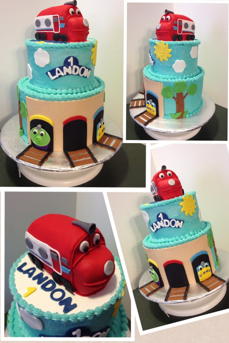 Chuggington 1st Birthday cake that I made for my nephew. The small train on top was his smash cake.