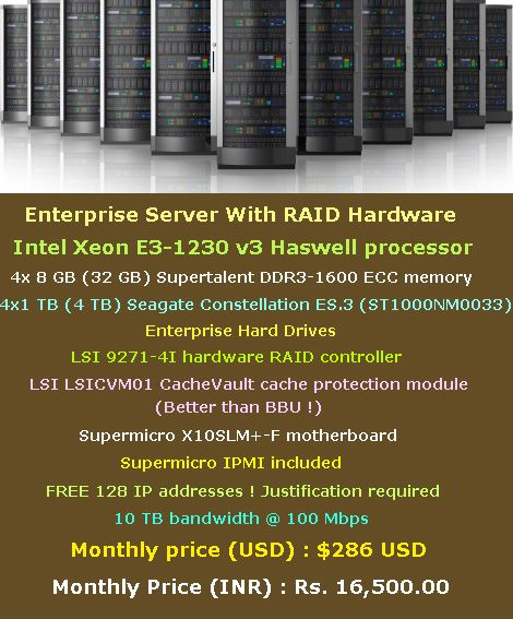 Enterprise Server With RAID Hardware