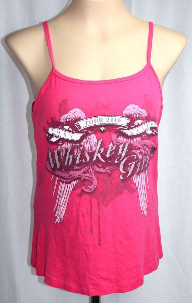Toby Keith Women's Pink Tour 2010 Whiskey Girl 100% Cotton Tank Top Size XXL #Bella #TankCami #Casual