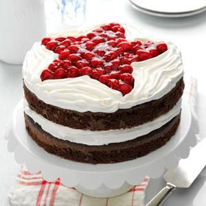 Chocolate Cherry Layer Cake Recipe from Taste of Home