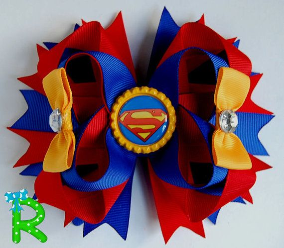 Hey, I found this really awesome Etsy listing at https://www.etsy.com/listing/237624040/superman-hair-bow-boutique-hair-bow-for