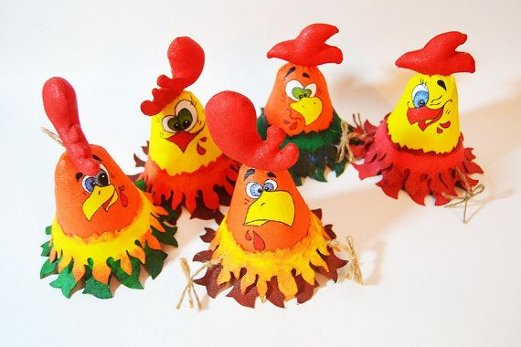 Textile rooster toy Christmas present Christmas by SimonsCatShop