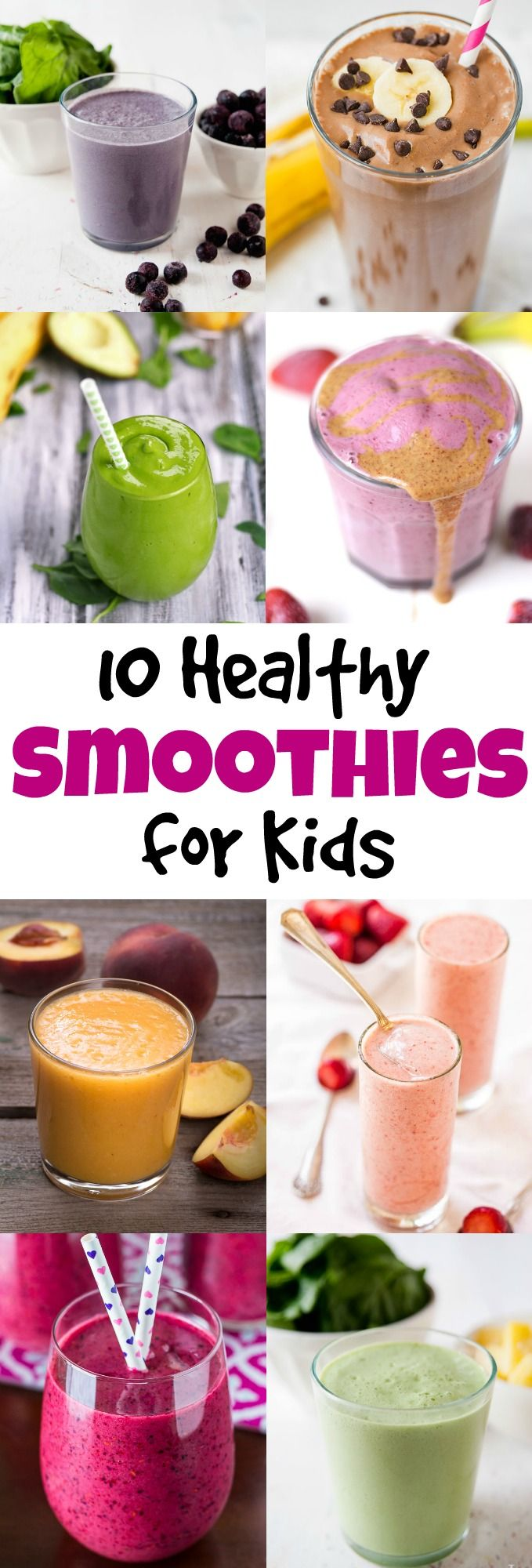 What better way to get more fruits and veggies in your kids' diet than a refreshing smoothie! Your kids will love these smoothies for breakfast or a snack.