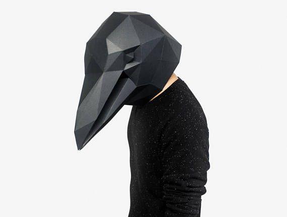 PDF Crow full face maskDIY Crow maskPaper Crow maskDIY maskFancy dressHalloween MaskPrintable TemplatesCrow MaskBird