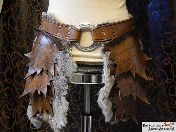 Leather leaf tasset (upper leg armor), spring or fall color with fur option, perfect for your wood elf costume on Etsy, $253.95 CAD