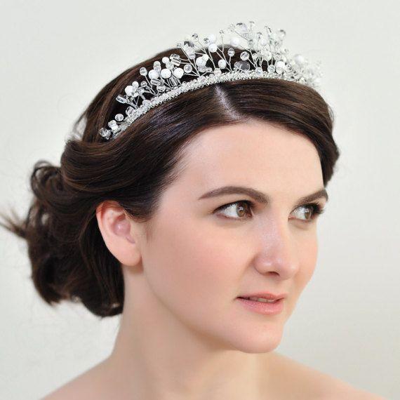 Prom tiara wedding Queen crown Fancy Bridal headband thin White hair piece  Fairy Custom color hair a  f5d4ea6ca5f9