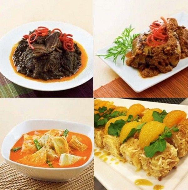 """Différentes recettes du grand chef indonésien William Wongso : en haut à gauche . """"Avec mon équipe, nous avons  pu présenter l'un de mes plats favoris, le Rendang Padang qui est un bœuf au curry caramélisé """"; 2/ Indonesie_ayam panggang bumbu rujak  ; En bas à gauche : sayur kapau et le selada Bangka . © David Raynal"""