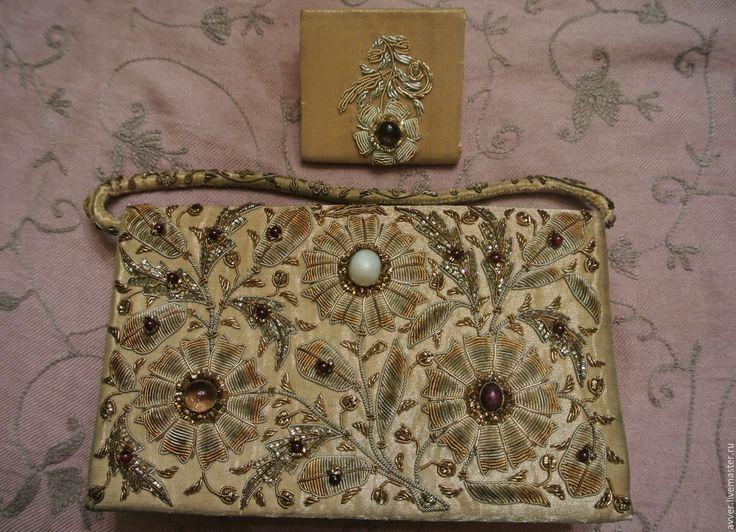 Купить дуэт: театральная сумочка и кошелёчек - золотой, вышивка ручная, вышивка, винтаж, винтажный, ретро