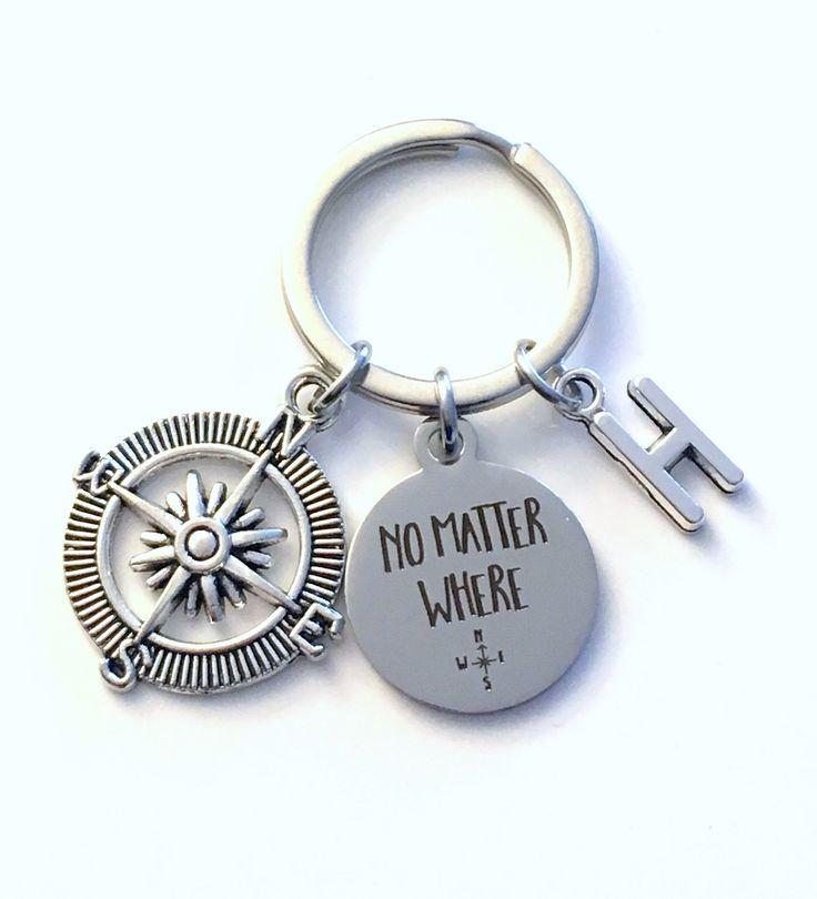 Going Away Gift for Son, No Matter Where Keychain Boyfriend, Compass Key Chain Keyring, Travel birthday present from Mom Dad Girlfriend him