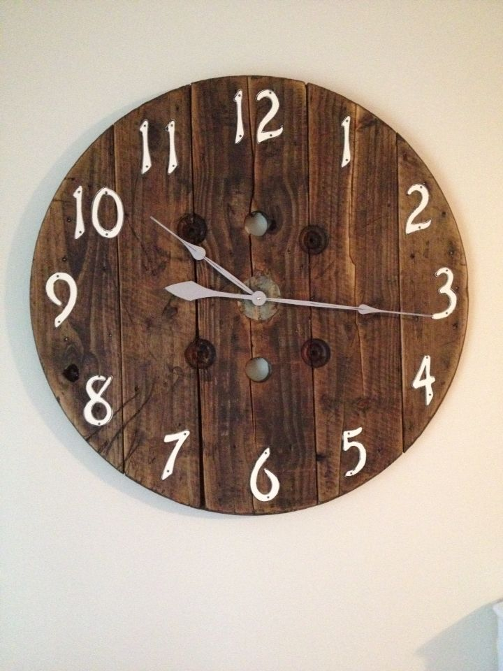 Diy Clock Made From A Wooden Spool Projects To Try