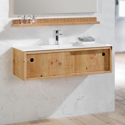 59 best STYLE  Salle de bain bois images on Pinterest Bathroom - meuble salle de bain en chene massif