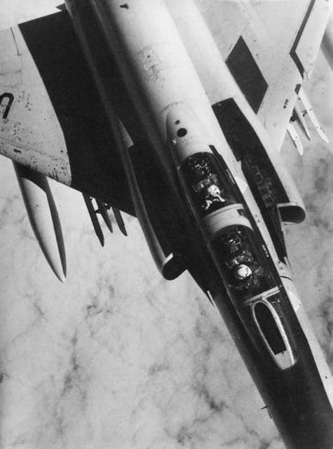 An F-4 Phantom II. Interception over the Atlantic. Photo taken by the crew of a TU-142 of the 76th OPLAP.