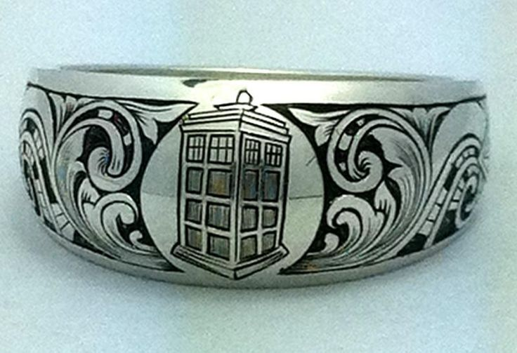 The Engraver's Cafe - The World's Largest Hand Engraving Community - Sci-Fi Ring: Geek, Spaces Shuttle, Stuff, Stars Trek, Doctors Who, Dr. Who, Tardis Rings, Wedding Rings, Engagement Rings
