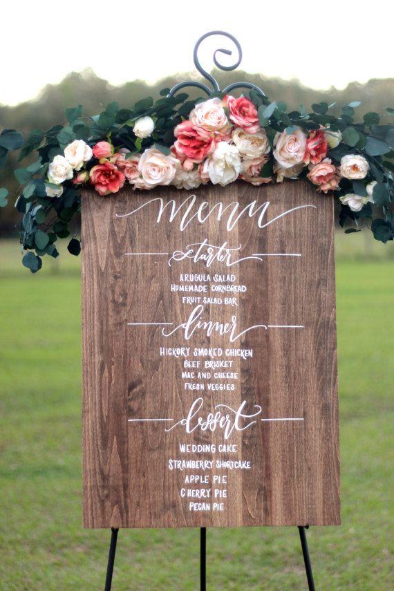 Custom Wedding Menu Sign, Rustic Wedding Signs, Dinner Menu Signs, Dessert Menu Signs, Reception Decor, Mulberry Market Designs