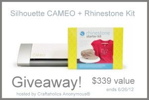 Silhouette CAMEO giveaway! Ends 6/26/12Crafts Ideas, Blog Giveaways, Silhouettes Cameo, Silhouettes Discount, Silhouettes Giveaways, Craftaholics Anonymous, Silhouette Cameo, 62612 Craftideas, Cameo Giveaways