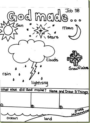 Job 38 Free Kid S Coloring Page Homeschool Bible God Made Me Coloring Page Free