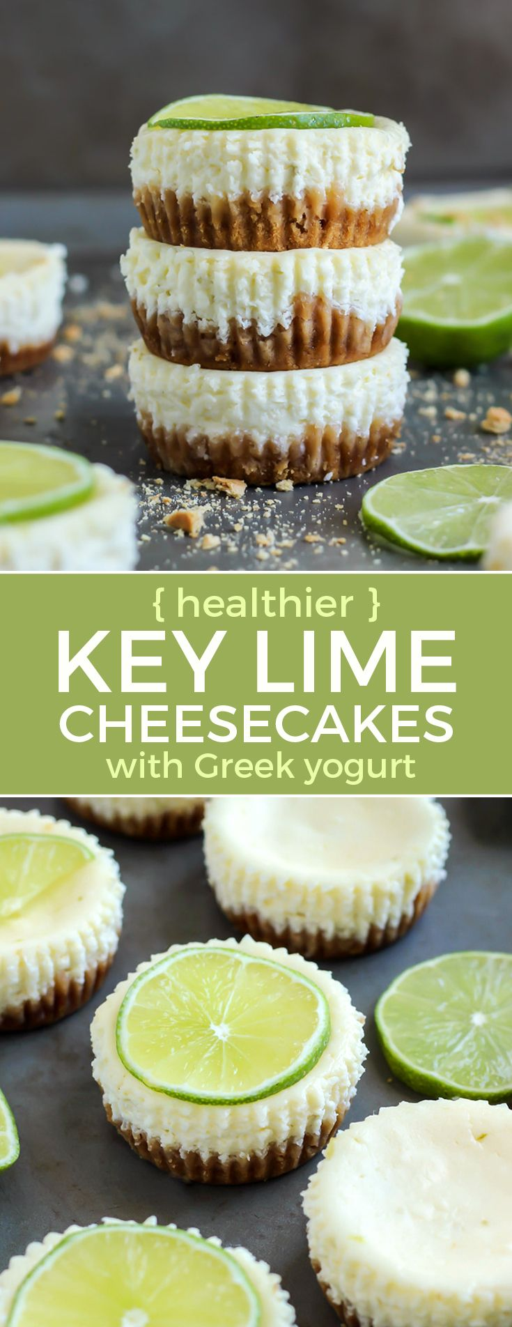 Healthier cheesecake recipe! Key Lime Cheesecake with Greek Yogurt. These are really easy