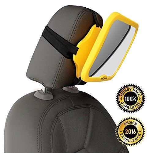 WHY SAFETY YELLOW CLICK TO SEE  THE 1 safest baby car mirror for rear facing baby seat  100 shatterproof  PREMIUM SAFETY  BONUS Baby on Board sign BONUS  *** For more information, visit image link.