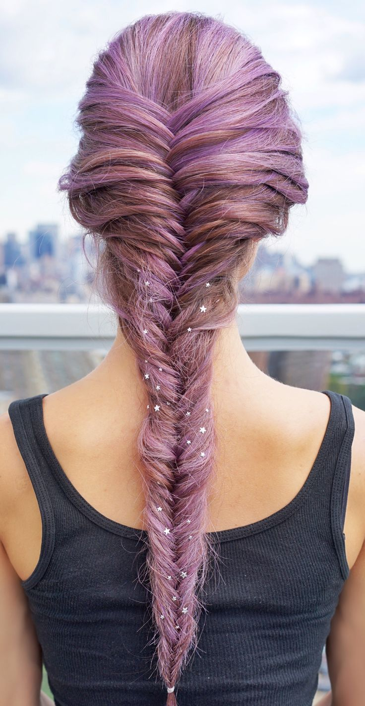 The look at home using l oreal paris feria smokey pastels in p2 smokey - Purple Star Studded Fishtail Braid With L Oreal Paris Feria Smokey Pastels In Smokey
