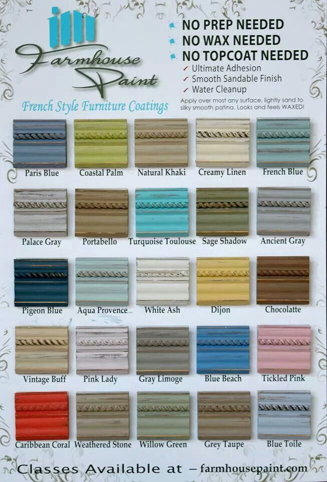 Farmhouse Paint color chart. Single step: no prep, no wax. $32 a quart.  important paint colors for farm house look