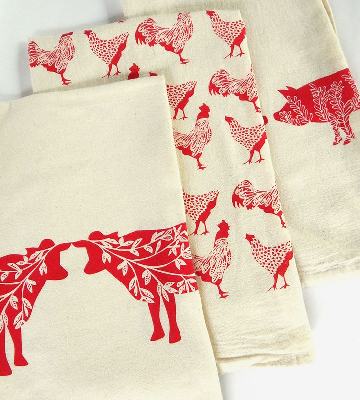 Red Farmyard Print Kitchen Towel Assortment, Set of 3 by The High Fiber on…