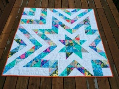 "I really love this pattern! This version is 60"" x 60"". Seen at The Recipe Bunny: Auction Quilt Finished, posted 2-Apr 2014"